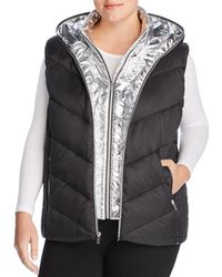 Marc New York Performance Plus Layered Front Hooded Puffer Vest - Black