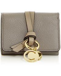 Chloé Alphabet Leather Trifold Wallet - Gray