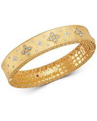Roberto Coin - 18k Yellow Gold & 18k White Gold Venetian Princess Diamond Bangle Bracelet - Lyst