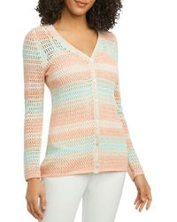Foxcroft - Multi-stripe Open-stitch Cardigan - Lyst