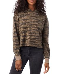 Alternative Apparel Cropped Tiger Print Hoodie - Brown