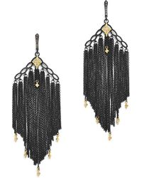 Armenta | 18k Yellow Gold & Blackened Sterling Silver Old World Cravelli Champagne Diamond Chain Chandelier Earrings | Lyst