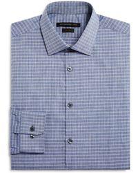 John Varvatos - Grid Check Slim Fit Dress Shirt - Lyst