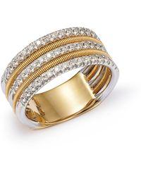 Marco Bicego Diamond Multi - Row Band Ring In 18k White & Yellow Gold - Metallic