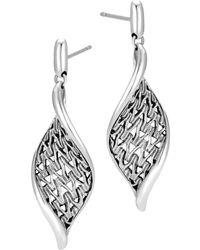 John Hardy - Sterling Silver Classic Chain Wave Drop Earrings - Lyst