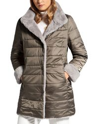 Basler Reversible Faux - Fur Puffer Coat - Multicolour