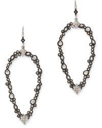 Armenta Sterling Silver New World Champagne Diamond & White Sapphire Open Pear Drop Earrings - Metallic