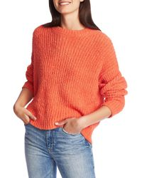1.STATE Crewneck Terry Ribbed Jumper - Orange