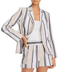 Aqua Striped Open - Front Blazer - Multicolour