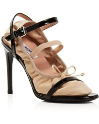Moschino - Women's 2-in-1 Patent Leather & Satin Ankle Strap Sandals - Lyst