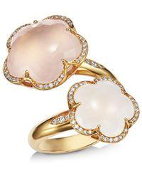 Pasquale Bruni 18k Rose Gold Bon Ton Goddesses Milky & Rose Quartz Bypass Ring - Metallic