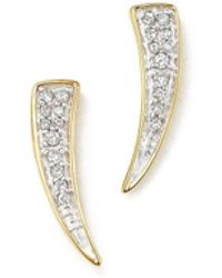 Adina Reyter - 14k Yellow Gold Pavé Diamond Tusk Earrings - Lyst