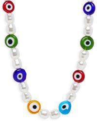 Aqua Simulated Pearl & Glass Necklace - White