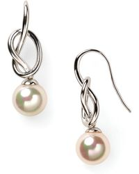 Majorica Knot & Simulated Pearl Drop Earrings - White