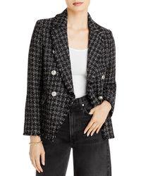 Aqua Tweed Double Breasted Blazer - Black