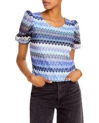 Aqua Crochet Puff - Sleeve Top - Blue