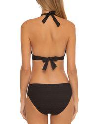 Becca Crochet Inset Bikini Top - Black
