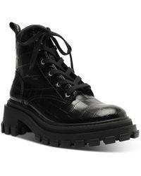 Schutz - Orly Croc Embossed Leather Platform Combat Boots - Lyst