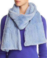Maximilian Ruffled Mink Fur Knit Scarf - Blue