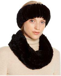 Maximilian Rabbit Fur Infinity Scarf & Headband - Black