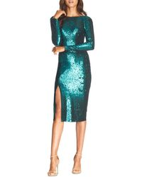 Dress the Population Natalie Sequin Sheath Dress - Green