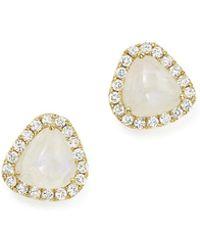Meira T | 14k Yellow Gold Rainbow Moonstone And Diamond Stud Earrings | Lyst