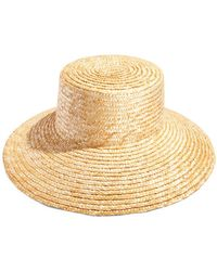 Aqua Bloom Straw Boater Hat - Natural