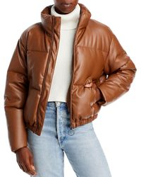 Aqua Faux Leather Puffer Jacket - Brown