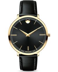 Movado - 'ultra Slim' Leather Strap Watch - Lyst