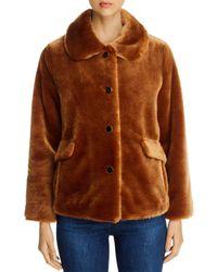 Kate Spade Faux Fur Short Coat - Brown