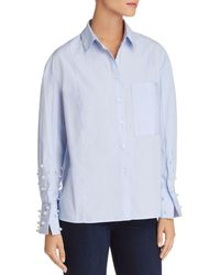 Aqua Embellished Button-front Shirt - Blue