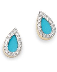 Adina Reyter - 14k Yellow Gold Turquoise & Diamond Teardrop Stud Earrings - Lyst