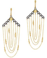 Armenta Blackened Sterling Silver & 18k Yellow Gold Old World Crivelli Champagne Diamond Chain Chandelier Earrings - Metallic