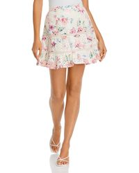Aqua Printed Eyelet Mini Skirt - White