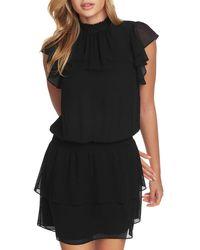 1.STATE Mock Neck Flutter Mini Dress - Black