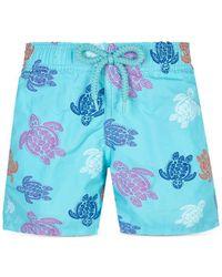 Vilebrequin Moorea Ronde Des Tortues Indies Swim Trunks - Blue