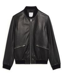 Sandro New Monaco Leather Bomber Jacket - Black