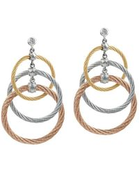 Alor - Tricolor Cable Triple Drop Earrings With Diamonds - Lyst