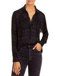 Rails Dolly Plaid Fringe Trim Button Up Top - Black