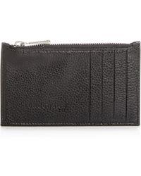Longchamp Le Foulonné Leather Zip Card Case - Black