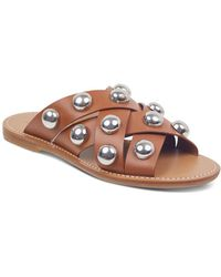 Marc Fisher - Women's Raidan Leather Stud Slide Sandals - Lyst