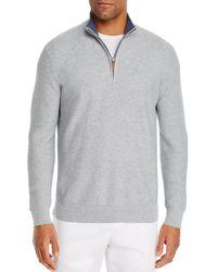 Bloomingdale's Tipped Half - Zip Textured Jumper - Grey