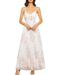BCBGMAXAZRIA Floral Tulle Evening Gown - White