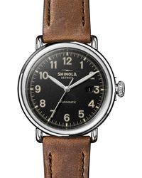 Shinola Men's 45mm Runwell Automatic Leather Watch - Black