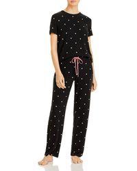 Aqua Heart Print Pyjama Set - Black