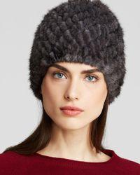 Maximilian Maximilian Knitted Mink Hat - Gray