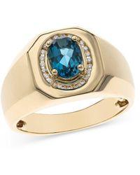 Bloomingdale's London Blue Topaz & Diamond Ring In 14k Yellow Gold - Metallic