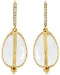 Temple St. Clair - 18k Yellow Gold Classic Amulet Diamond Pavé Earrings - Lyst