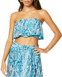 Ramy Brook Meena Bandeau Top Swim Cover - Up - Blue