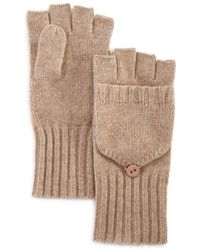 C By Bloomingdale's Ribbed Pop - Top Cashmere Gloves - Natural